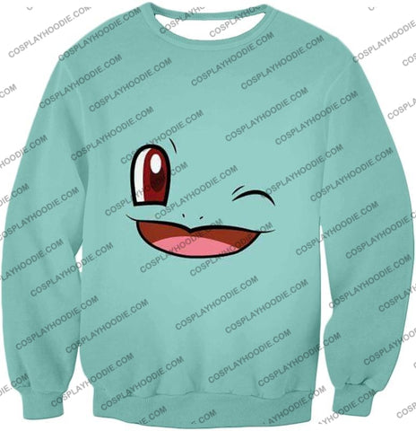 Image of Pokemon Squirtle Wink Artwork Blue T-Shirt Pkm165 Sweatshirt / Us Xxs (Asian Xs)
