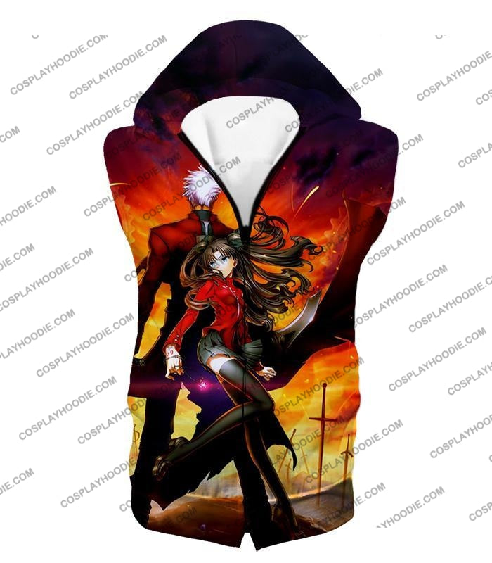 Fate Stay Night Cool Rin Tohsaka And Archer Action T-Shirt Fsn015 Hooded Tank Top / Us Xxs (Asian