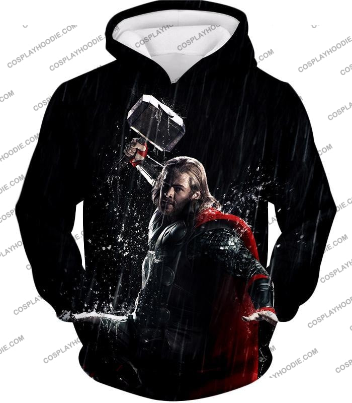 Marvel Cinematic Cool Thor Action Black T-Shirt Thor016 Hoodie / Us Xxs (Asian Xs)
