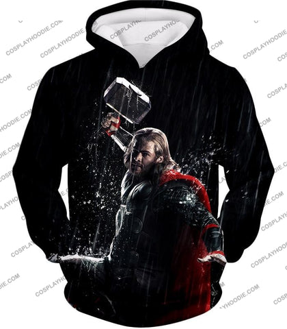 Image of Marvel Cinematic Cool Thor Action Black T-Shirt Thor016 Hoodie / Us Xxs (Asian Xs)