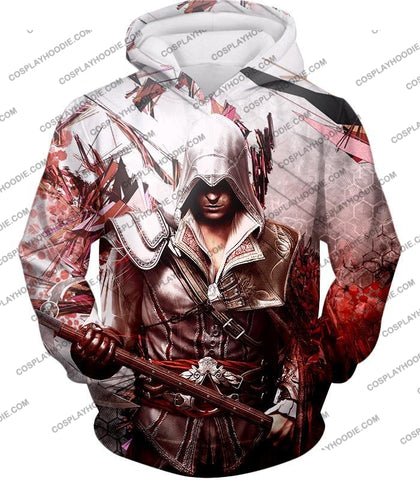 Image of Ultimate Ezio Auditore Cool Action Assassin Hero Graphic T-Shirt Ac016 Hoodie / Us Xxs (Asian Xs)