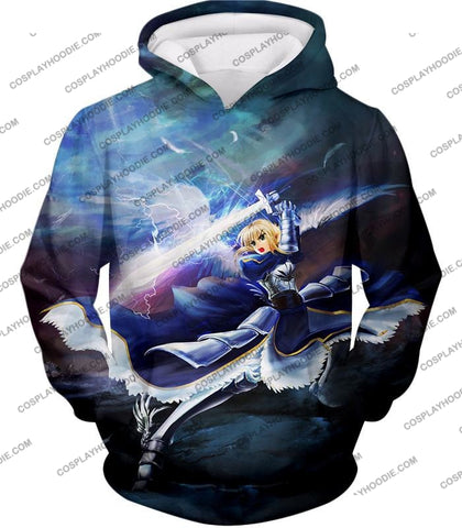 Image of Fate Stay Night King Arthur Noble Phantasm Action T-Shirt Fsn016 Hoodie / Us Xxs (Asian Xs)