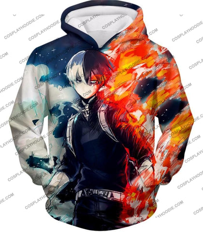 Image of My Hero Academia Blazing Hot And Icy Cold Half Shoto Cool Action T-Shirt Mha066 Hoodie / Us Xxs