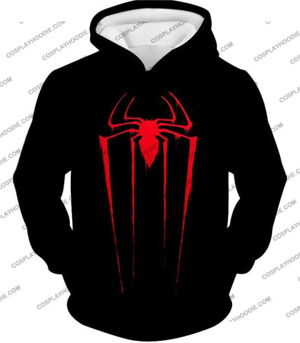 Image of Blood Red Spiderman Logo Black T-Shirt Sp016 Hoodie / Us Xxs (Asian Xs)
