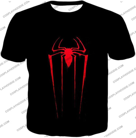 Image of Blood Red Spiderman Logo Black T-Shirt Sp016 / Us Xxs (Asian Xs)