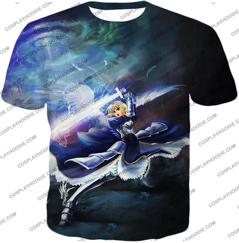 Image of Fate Stay Night King Arthur Noble Phantasm Action T-Shirt Fsn016 / Us Xxs (Asian Xs)
