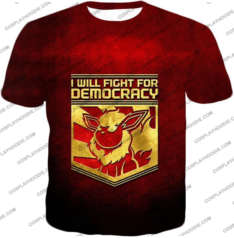 Pokemon Cool Flareon Promo Quote I Will Fight For Democracy T-Shirt Pkm016 / Us Xxs (Asian Xs)