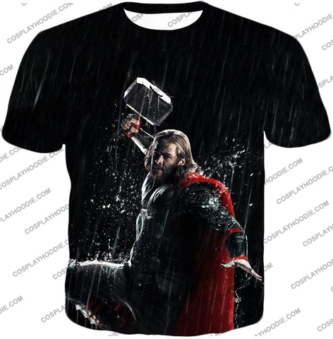 Image of Marvel Cinematic Cool Thor Action Black T-Shirt Thor016 / Us Xxs (Asian Xs)