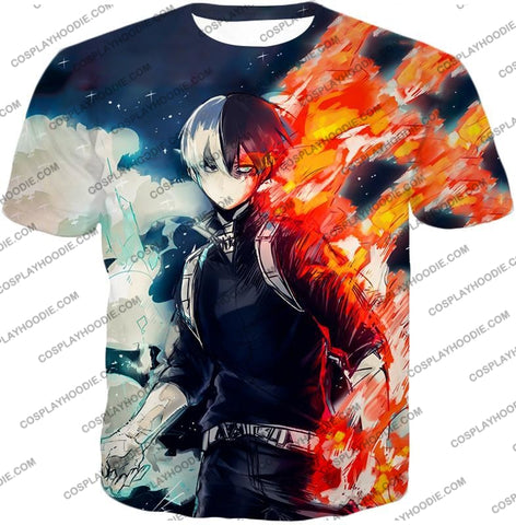 Image of My Hero Academia Blazing Hot And Icy Cold Half Shoto Cool Action T-Shirt Mha066 / Us Xxs (Asian Xs)