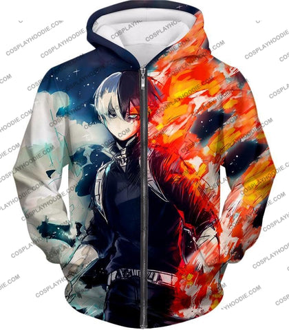 Image of My Hero Academia Blazing Hot And Icy Cold Half Shoto Cool Action T-Shirt Mha066 Zip Up Hoodie / Us