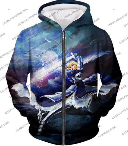 Image of Fate Stay Night King Arthur Noble Phantasm Action T-Shirt Fsn016 Zip Up Hoodie / Us Xxs (Asian Xs)