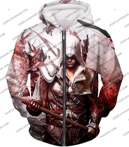 Image of Ultimate Ezio Auditore Cool Action Assassin Hero Graphic T-Shirt Ac016 Zip Up Hoodie / Us Xxs (Asian