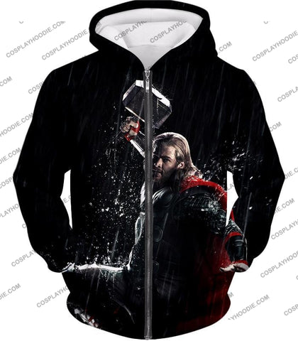 Image of Marvel Cinematic Cool Thor Action Black T-Shirt Thor016 Zip Up Hoodie / Us Xxs (Asian Xs)