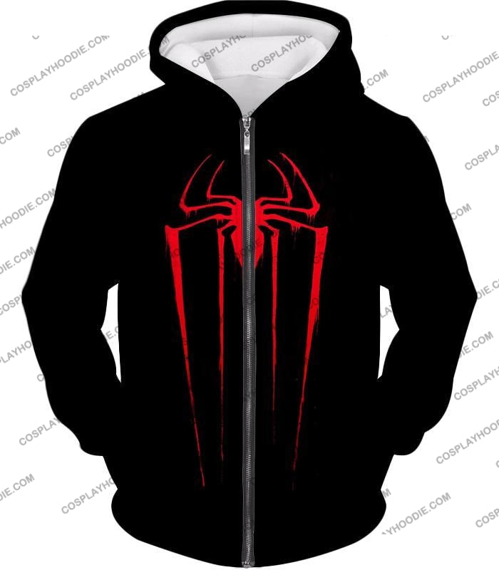 Blood Red Spiderman Logo Black T-Shirt Sp016 Zip Up Hoodie / Us Xxs (Asian Xs)