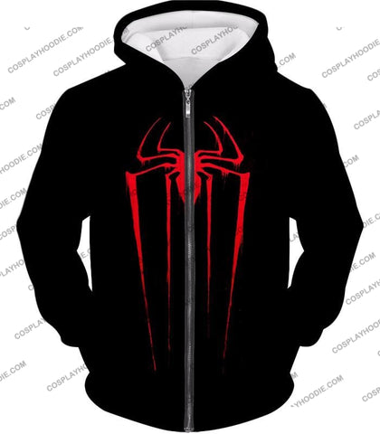 Image of Blood Red Spiderman Logo Black T-Shirt Sp016 Zip Up Hoodie / Us Xxs (Asian Xs)