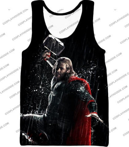 Image of Marvel Cinematic Cool Thor Action Black T-Shirt Thor016 Tank Top / Us Xxs (Asian Xs)