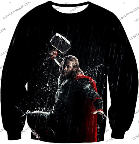 Image of Marvel Cinematic Cool Thor Action Black T-Shirt Thor016 Sweatshirt / Us Xxs (Asian Xs)