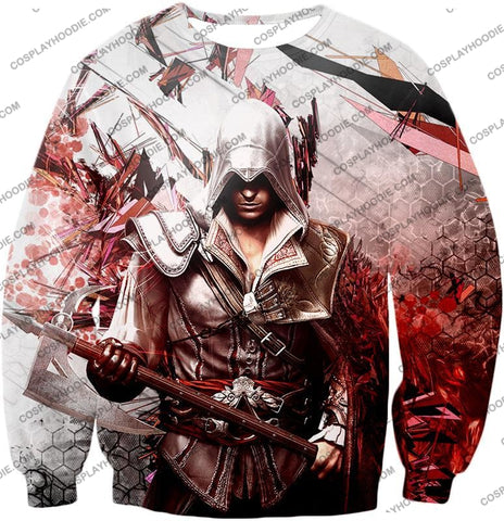Image of Ultimate Ezio Auditore Cool Action Assassin Hero Graphic T-Shirt Ac016 Sweatshirt / Us Xxs (Asian