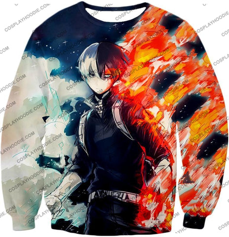 Image of My Hero Academia Blazing Hot And Icy Cold Half Shoto Cool Action T-Shirt Mha066 Sweatshirt / Us Xxs