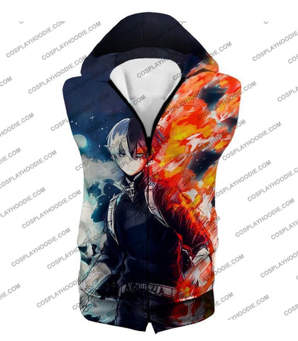 Image of My Hero Academia Blazing Hot And Icy Cold Half Shoto Cool Action T-Shirt Mha066 Hooded Tank Top / Us