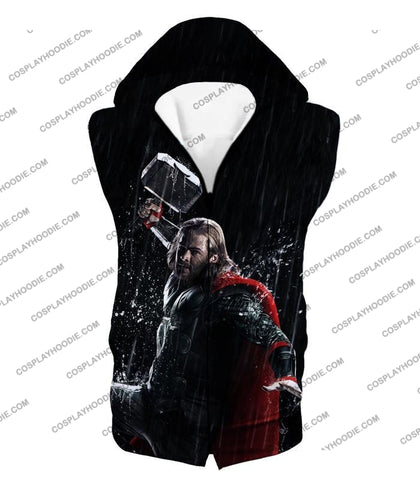 Image of Marvel Cinematic Cool Thor Action Black T-Shirt Thor016 Hooded Tank Top / Us Xxs (Asian Xs)