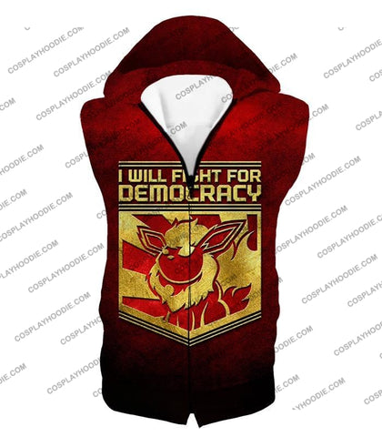 Image of Pokemon Cool Flareon Promo Quote I Will Fight For Democracy T-Shirt Pkm016 Hooded Tank Top / Us Xxs