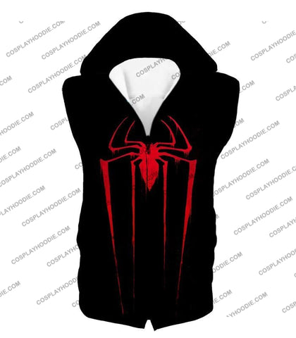 Image of Blood Red Spiderman Logo Black T-Shirt Sp016 Hooded Tank Top / Us Xxs (Asian Xs)