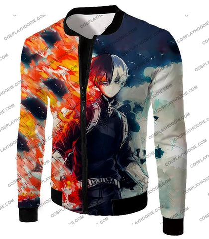 Image of My Hero Academia Blazing Hot And Icy Cold Half Shoto Cool Action T-Shirt Mha066 Jacket / Us Xxs