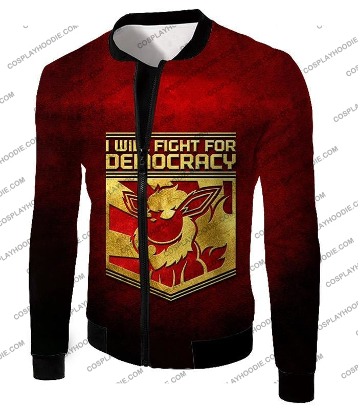 Pokemon Cool Flareon Promo Quote I Will Fight For Democracy T-Shirt Pkm016 Jacket / Us Xxs (Asian