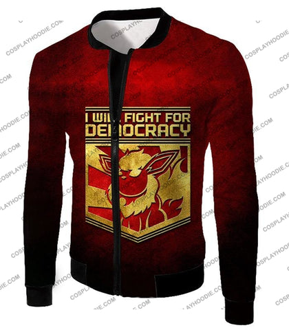 Image of Pokemon Cool Flareon Promo Quote I Will Fight For Democracy T-Shirt Pkm016 Jacket / Us Xxs (Asian