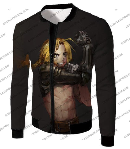 Image of Fullmetal Alchemist Edward Elrich Cool Anime Black Poster T-Shirt Fa016 Jacket / Us Xxs (Asian Xs)