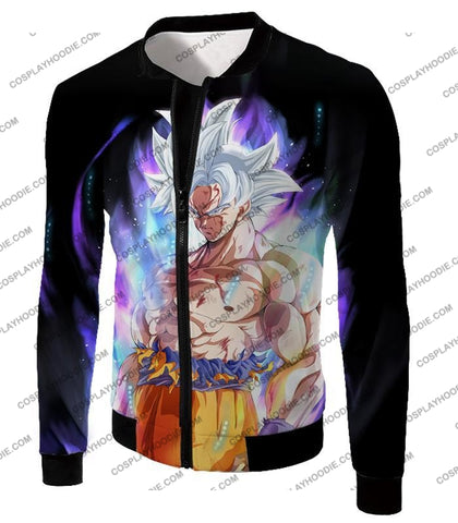 Image of Dragon Ball Super Saiyan White Goku Ultimate Fighting Form Cool Black T-Shirt Dbs161 Jacket / Us Xxs