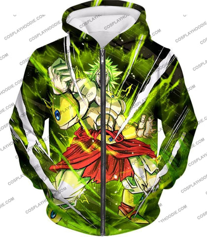 Image of Dragon Ball Super Broly Legendary Saiyan Ultimate Action Graphic Anime T-Shirt Dbs164 Zip Up Hoodie