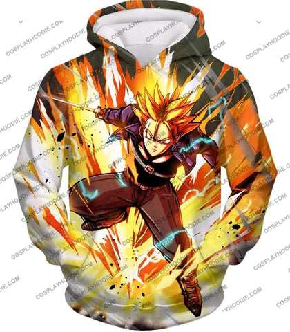 Image of Dragon Ball Super Future Trunks Saiyan Awesome Action Anime T-Shirt Dbs165 Hoodie / Us Xxs (Asian