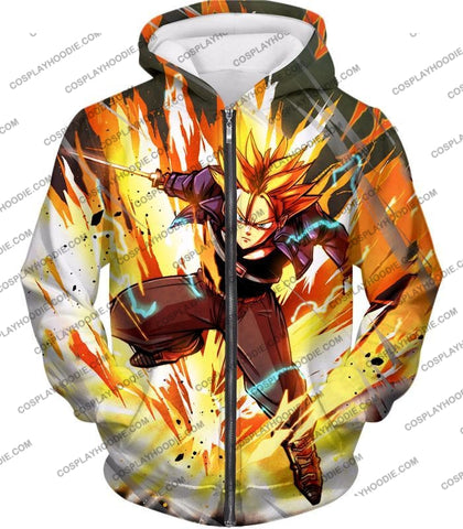 Image of Dragon Ball Super Future Trunks Saiyan Awesome Action Anime T-Shirt Dbs165 Zip Up Hoodie / Us Xxs