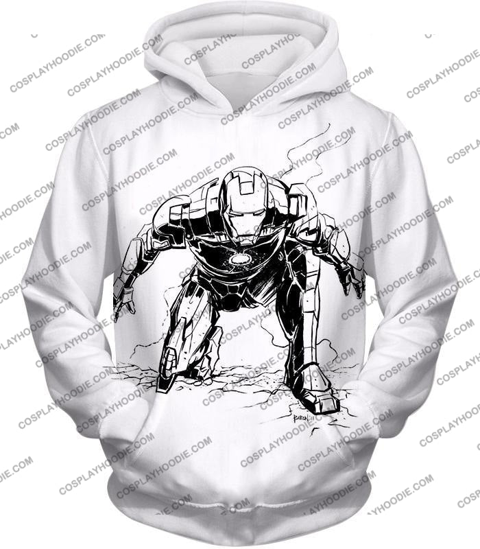 Cool Iron Man Pencil Sketch White Action T-Shirt Im017 Hoodie / Us Xxs (Asian Xs)