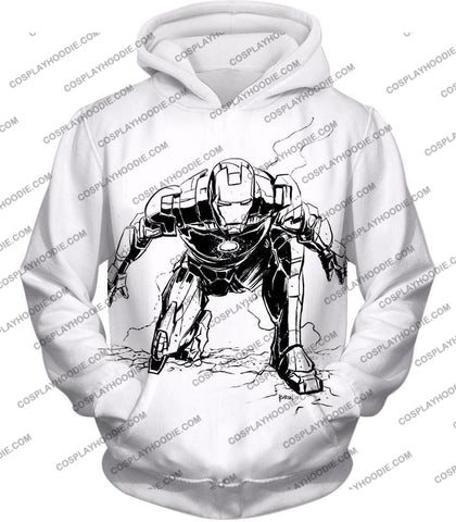 Image of Cool Iron Man Pencil Sketch White Action T-Shirt Im017 Hoodie / Us Xxs (Asian Xs)