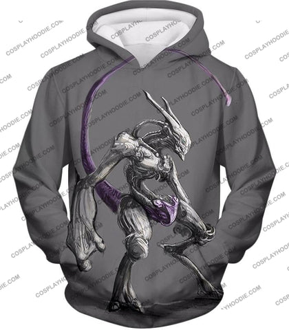 Image of Pokemon Extremely Powerful Psychic Mewto Cool Grey T-Shirt Pkm017 Hoodie / Us Xxs (Asian Xs)