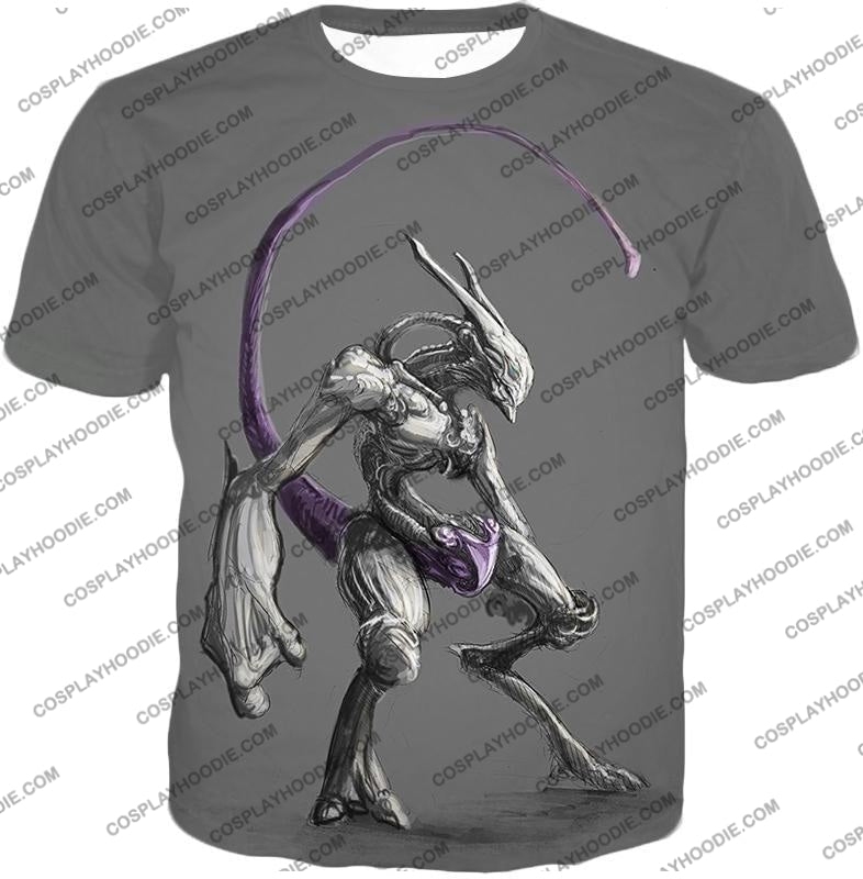 Pokemon Extremely Powerful Psychic Mewto Cool Grey T-Shirt Pkm017 / Us Xxs (Asian Xs)