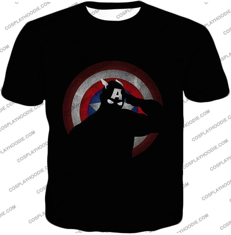 Image of American Comic Hero Captain America Silhouette Promo Black T-Shirt Ca017 / Us Xxs (Asian Xs)