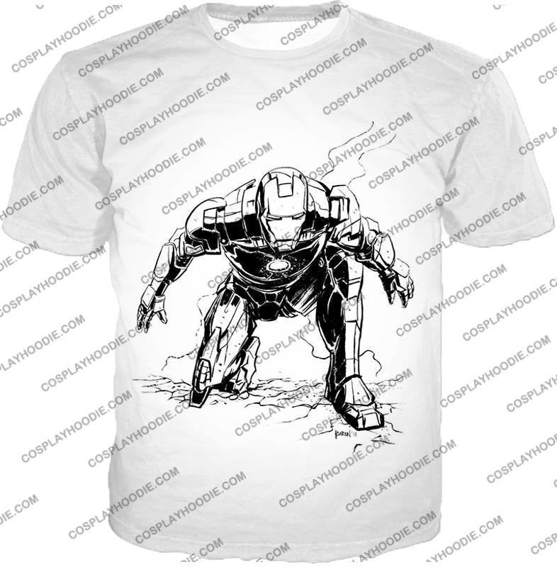 Cool Iron Man Pencil Sketch White Action T-Shirt Im017 / Us Xxs (Asian Xs)