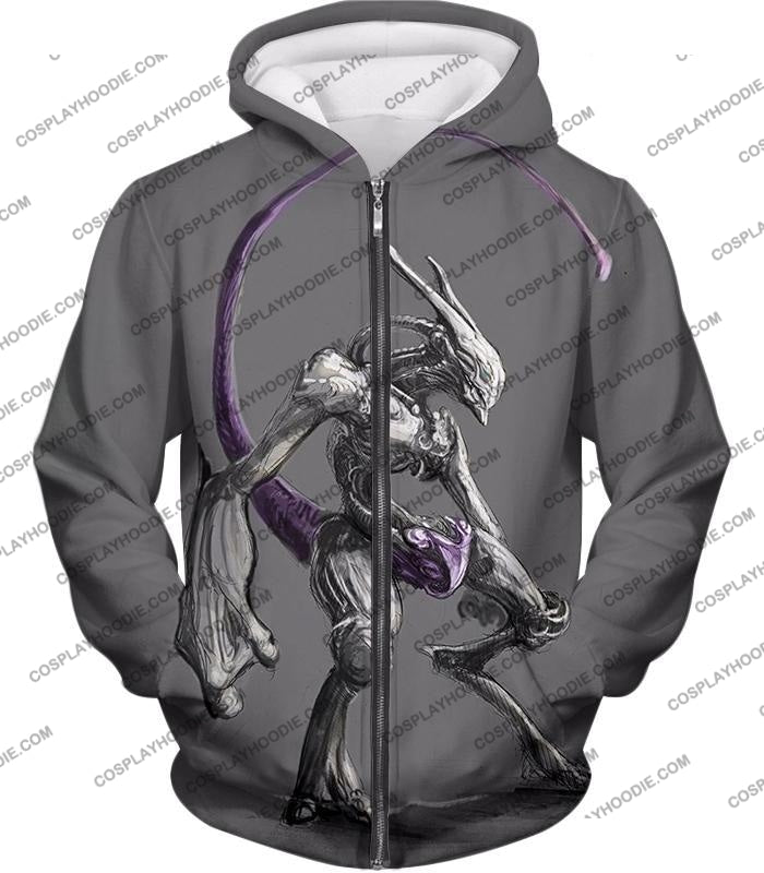 Pokemon Extremely Powerful Psychic Mewto Cool Grey T-Shirt Pkm017 Zip Up Hoodie / Us Xxs (Asian Xs)