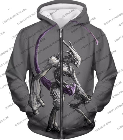 Image of Pokemon Extremely Powerful Psychic Mewto Cool Grey T-Shirt Pkm017 Zip Up Hoodie / Us Xxs (Asian Xs)