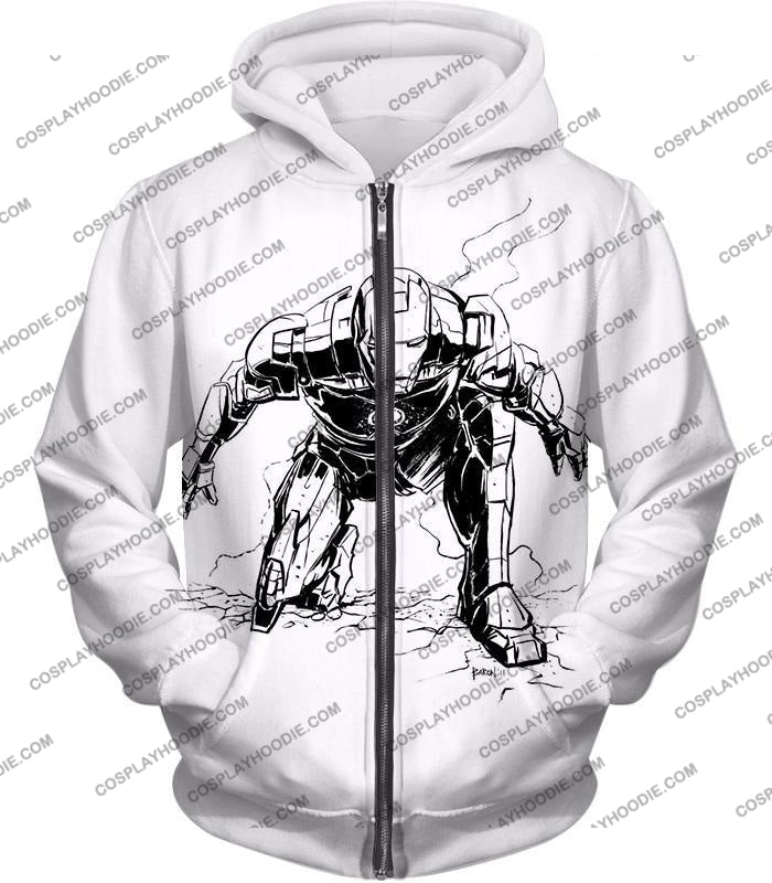 Cool Iron Man Pencil Sketch White Action T-Shirt Im017 Zip Up Hoodie / Us Xxs (Asian Xs)