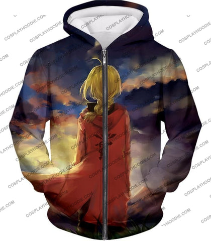 Image of Fullmetal Alchemist Best State Edward Elrich Awesome Anime Art T-Shirt Fa017 Zip Up Hoodie / Us Xxs