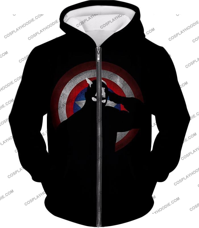 American Comic Hero Captain America Silhouette Promo Black T-Shirt Ca017 Zip Up Hoodie / Us Xxs