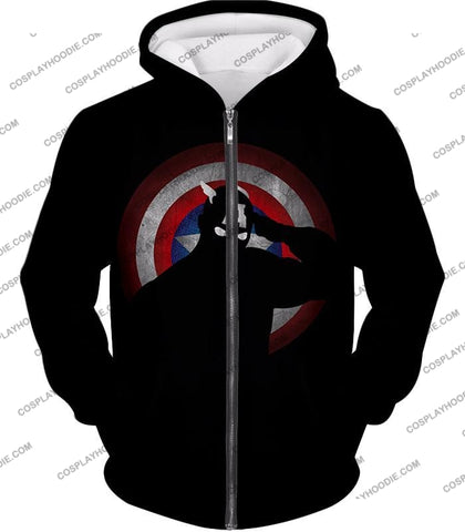 Image of American Comic Hero Captain America Silhouette Promo Black T-Shirt Ca017 Zip Up Hoodie / Us Xxs