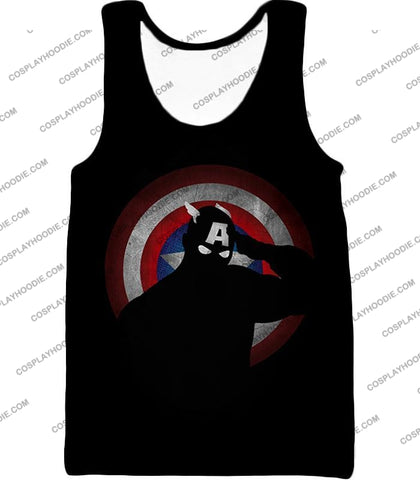 Image of American Comic Hero Captain America Silhouette Promo Black T-Shirt Ca017 Tank Top / Us Xxs (Asian