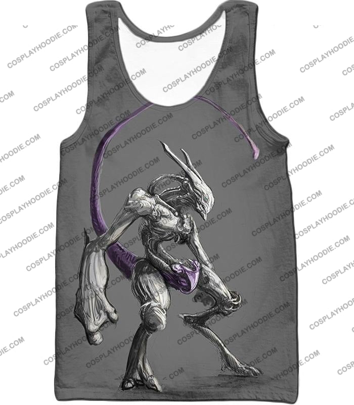 Pokemon Extremely Powerful Psychic Mewto Cool Grey T-Shirt Pkm017 Tank Top / Us Xxs (Asian Xs)