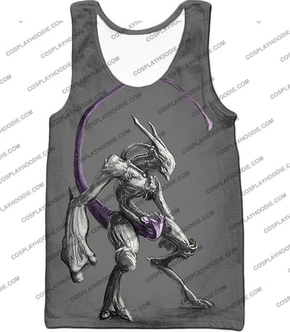 Image of Pokemon Extremely Powerful Psychic Mewto Cool Grey T-Shirt Pkm017 Tank Top / Us Xxs (Asian Xs)